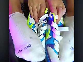 Nike Air foot fetish hard by hot skinny teens girl