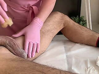 Trillions of semen - ejaculation during waxing
