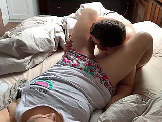 Romantic cuddles turn into blowjob and sex - cum inside