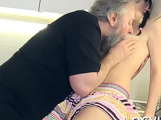 Horny young babe drilled by old guy