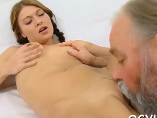 Brave young girl fucked by old rod