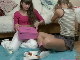 Magic wand on tiny teen pussy lesbian ribbons kissing &amp_fucking along to wet teen cunt
