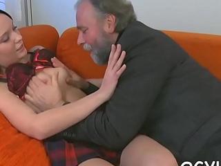 Old guy seduces a juvenile chick