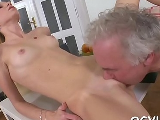 Juvenile chick licks and rides old rod