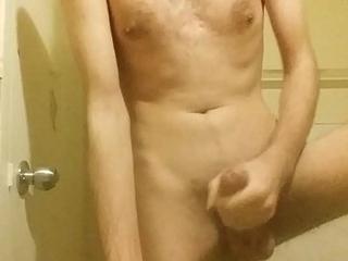 Wow horny morning bathroom masturbating my  7 inch cock until I cum