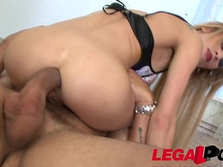 Perfect Blonde slut Amanda gets her tiny ass fucked by beastlike cock