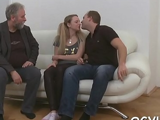 Valuable young babe licks old dick